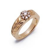 バーニス K14 イエローゴールド ハワイアン ダイヤモンド エンゲージリング