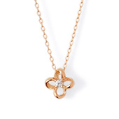 K10ピンクゴールド ダイヤモンド フラワー レディース ネックレス